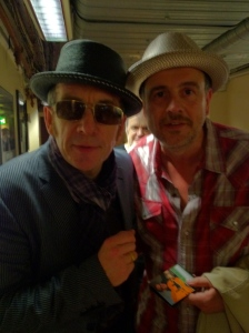 Elvis Costello and Mark Billingham (left to right).
